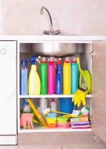 cleaning, supplies, organized, home