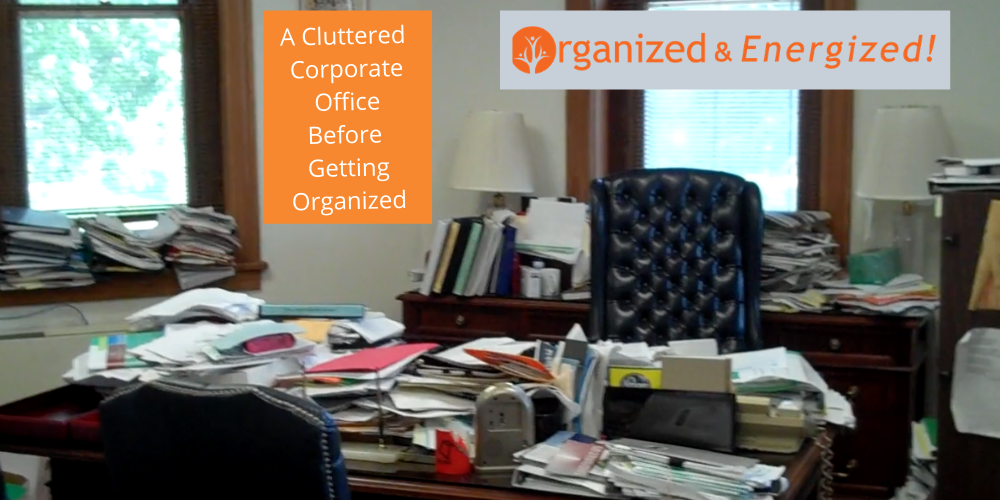 corporate clutter, paper piles, disorganization